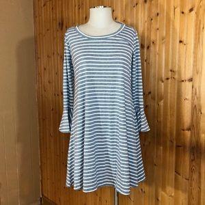 NWT Thyme & Honey Gray Striped Bell Sleeve Dress